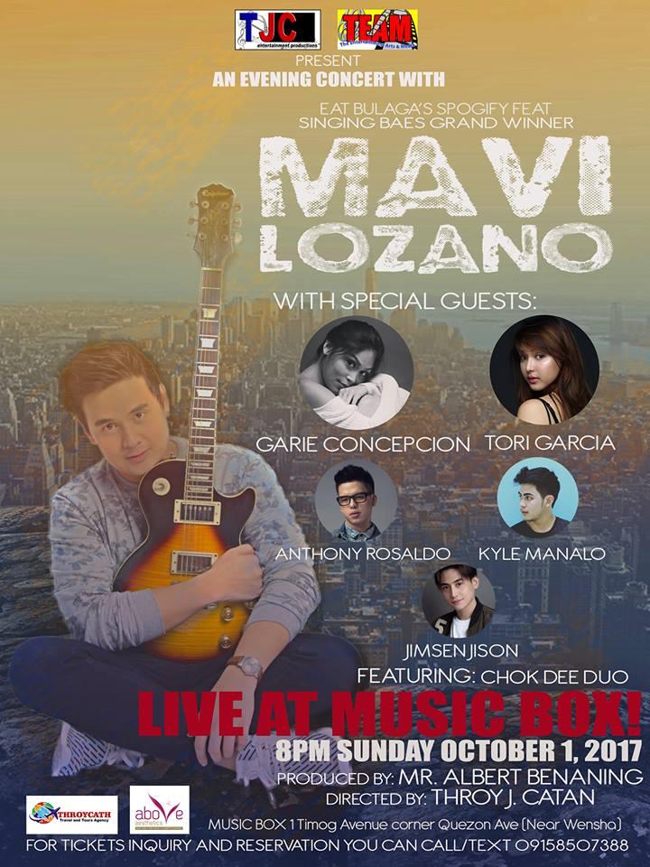 Mavi Lozano, may solo concert sa Music Box sa darating na Linggo, October1