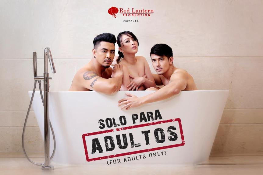 "April ""Congrats"" Gustilo, Vivo Ouano and John Raspado in their most daring act ever in ""Solo Para Adultos""."