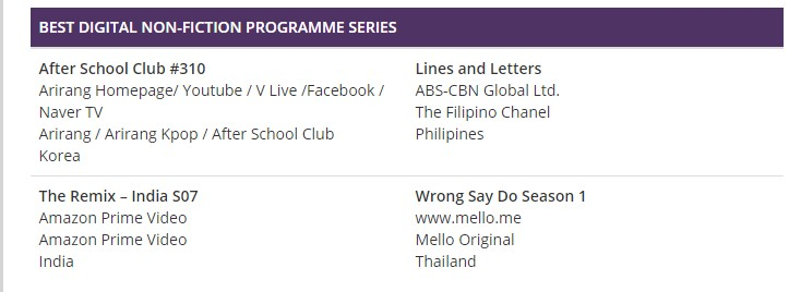 Asian TV Awards Nomination-Lines and Letters