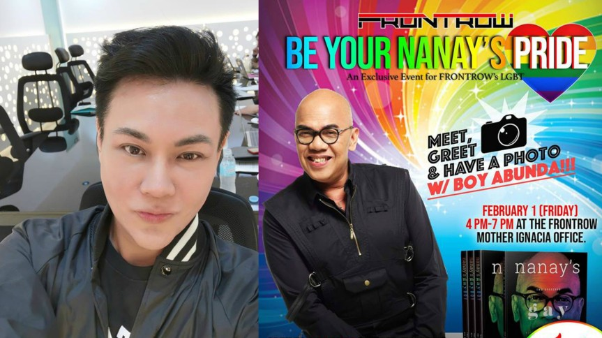Boy Abunda gives away 500 copies of his book for free for Frontrow's LGBT members