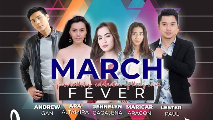 "Watch Andrew, Ara, Jennelyn, Maricar, and Lester live in ""March Fever"" on March 10 at the MusicBox"