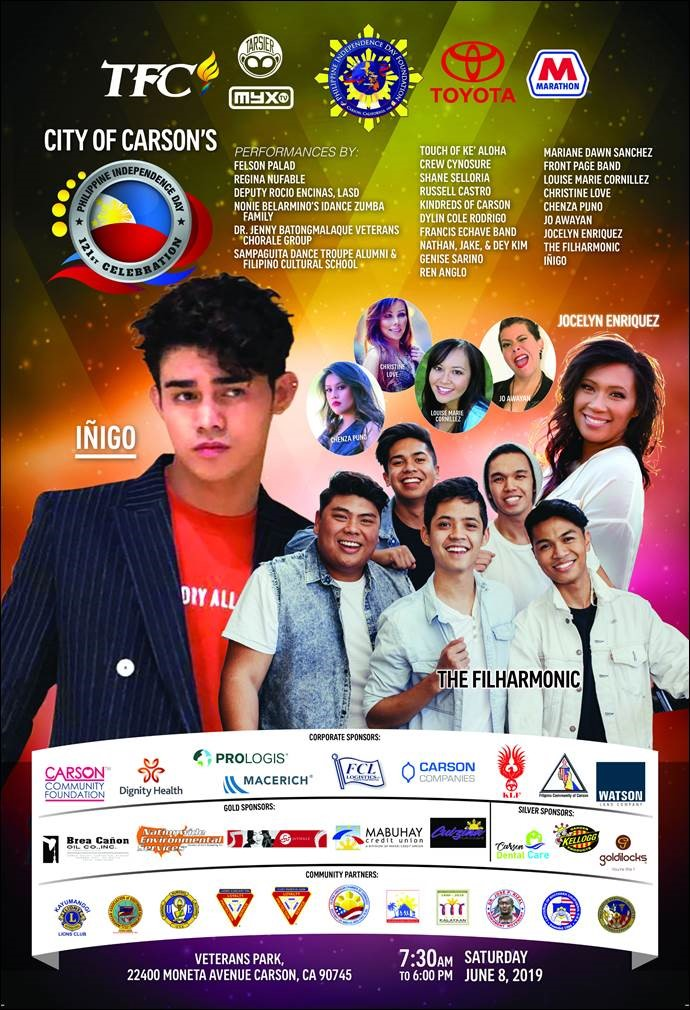A star-studded line-up of performers will grace the 121st Philippine Independence Day Celebration in Carson, California on June 8