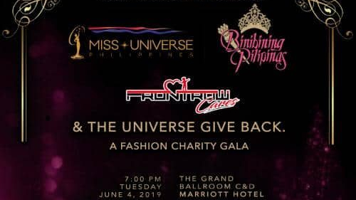 "Miss Universe, Binibining Pilipinas,  and Frontrow Cares bring you ""The Universe Gives Back"""