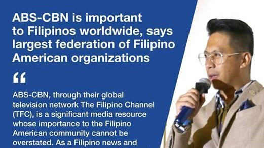 Filipino American Organizations Emphasize the Importance of ABS-CBN to Filipinos in theUS